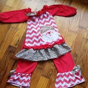 Santa Christmas cheetah matching set